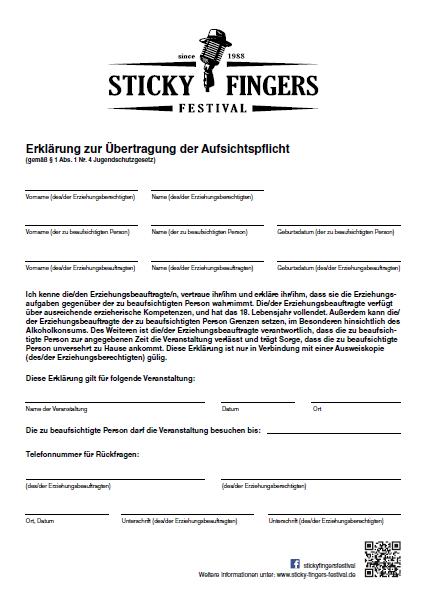 Übertragung der Aufsichtspflicht für das Sticky Fingers Festival